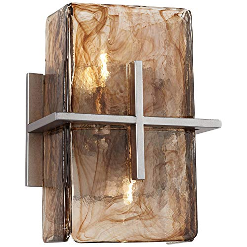 Asian Wall Light Bronze Gold 8' Art Glass Sconce Fixture for Bathroom Bedroom Hallway - Franklin Iron Works