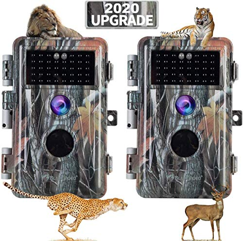 [2020 Upgrade] 2-Pack Night Vision Game Trail Cameras 20MP 1080P H.264 MP4 Video No Glow Deer Hunting Cams IP66 Waterproof & Password Protected Motion Activated Photo & Video Model Time Lapse