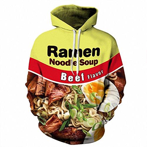 3D Hoodie Ramen Noodle Soup Print Sweatshirt Pork/Chicken/Beef Funny Hooded Pullovers 02 L