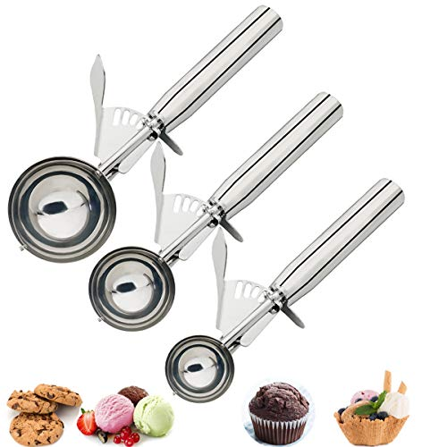 Cookie Scoops Set - 3 Pieces Cookie Scoops for Baking, Ice Cream Scoop, Dishers Scoops, Portion Scoop, Made of 18/8 Stainless Steel