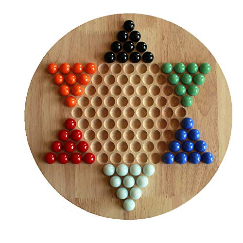 Chinese Checkers Board Game for Family Fun, Made with Natural Rubber Wood, 60 Glass Marbles in 6 Colors, up to six Players, 11.61'