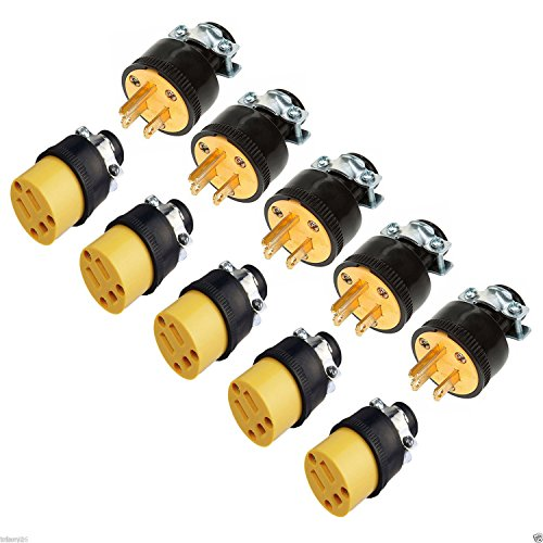 Fashion 5pc male & 5pc female extension cord replacement electrical end plugs 15AMP 125V
