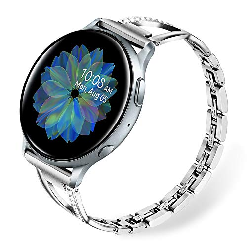 TRUMiRR Women Band for Galaxy Watch Active2 40mm 44mm / Watch 3 41mm, Bling Diamond & Stainless Steel Watchband Quick Release Strap Jewelry Wristband for Samsung Galaxy Watch Active 2 R830 R820 / Active 40mm R500