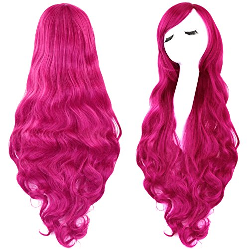 Rbenxia Curly Cosplay Wig Long Hair Heat Resistant Spiral Costume Wigs Anime Fashion Wavy Curly Cosplay Daily Party Rose Red 32' 80cm