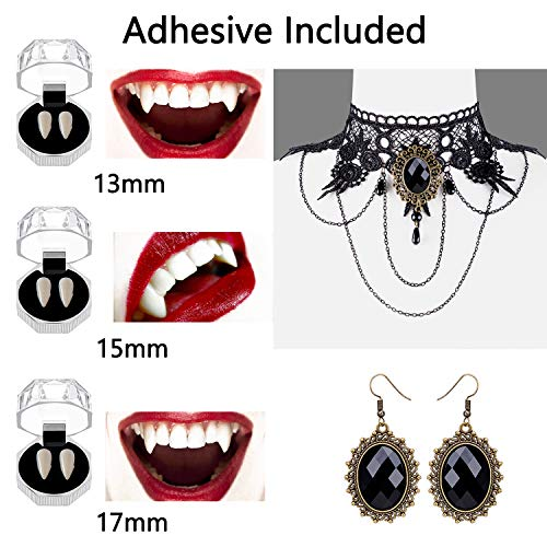 Vampire Teeth Fangs Gothic Necklace Choker Earrings - Halloween Costume Accessories for Girls Zombie Cosplay Props Set Party Decorations Supplies (Adhesive Included)
