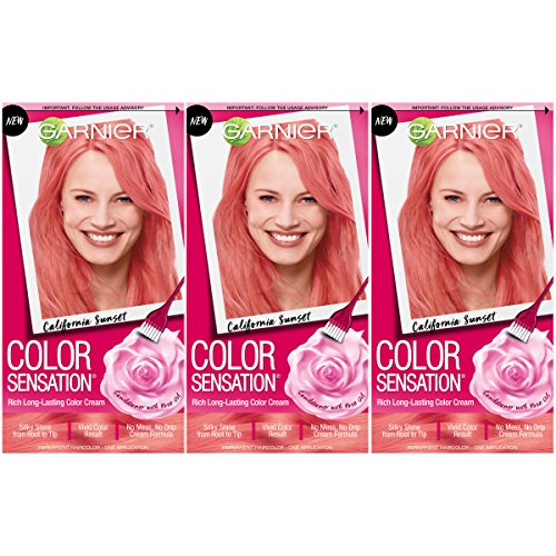 Garnier Hair Color Sensation Hair Cream, California Sunset Coral Pink, (Pack of 3)
