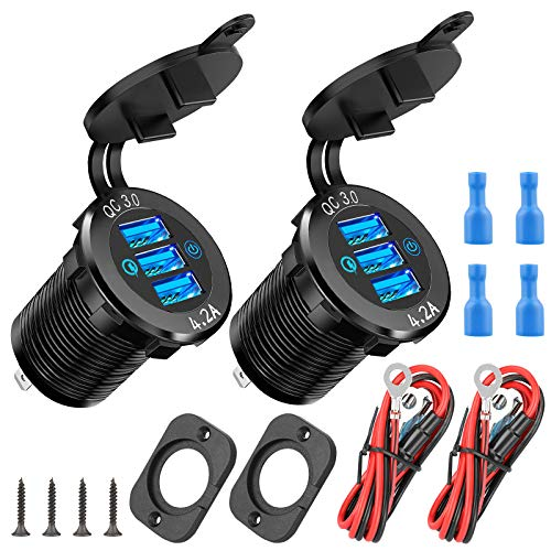 2 Pack 12V USB Car Charger, Quick Charge 3.0/4.2A Triple USB Outlet 12V Socket with Touch Power Switch, Waterproof 12V/24V Fast Charge Socket DIY Kit for Car Boat Marine Truck Golf Cart RV Motorcycle