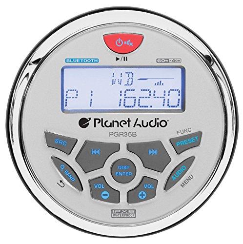Planet Audio PGR35B Weatherproof Marine Gauge Receiver - Bluetooth, Digital Media MP3 Player, No CD Player, USB Port, AUX-In, AM/FM Radio Receiver
