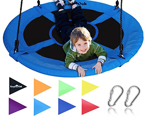 Royal Oak Giant 40' Saucer Tree Swing with Bonus Carabiners, Cover and Flags, 700 lb Weight Capacity, Steel Frame, Waterproof, Easy to Install with Step by Step Instructions, Non-Stop Fun! (Blue)