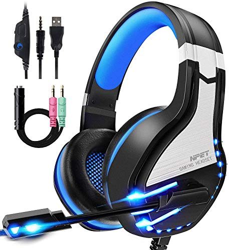 NPET HS10 Stereo Gaming Headset for PS4, PC, Xbox One Controller, Noise Cancelling Over-Ear Headphones with Mic, Soft Memory Earmuffs, LED Backlit, Volume Control (Blue) (Renewed)