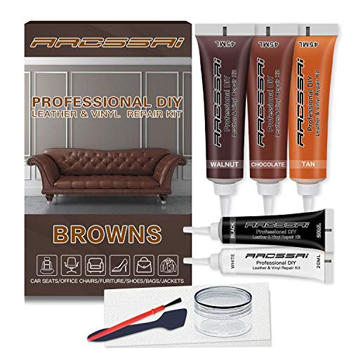 Brown Leather Repair Kits for Couches - Vinyl and Leather Repair Kit -Leather Paint- Leather Scratch, Tears & Burn Holes Repair for Refurbishing Upholstery, Couch, Boat, Car Seats - Leather Dye Brown