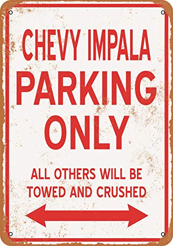Wall-Color 7 x 10 Metal Sign - Chevy Impala Parking ONLY - Vintage Look