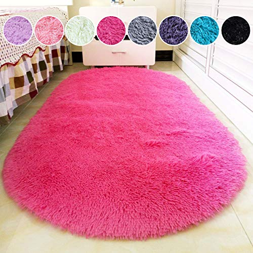 junovo Oval Fluffy Ultra Soft Area Rugs for Bedroom Plush Shaggy Carpet for Kids Room Bedside Nursery Mats, 2.6 x 5.3ft, Hot-Pink