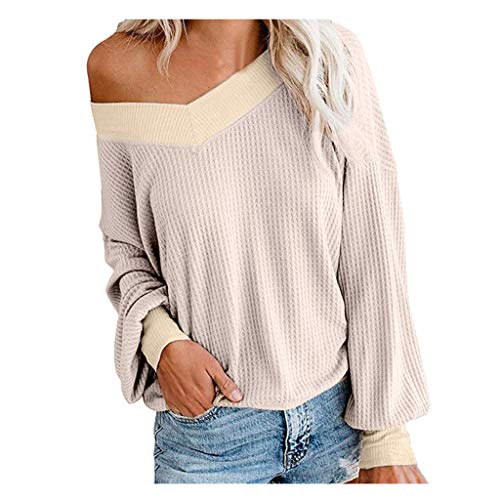 VEKDONE Women Oversized Off The Shoulder Sweater Batwing Sleeve V Neck Waffle Knit Loose Pullover Tops(Khaki,XX-Large)