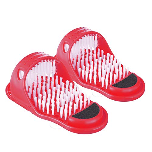 Magic Foot Scrubber, CAMTOA Feet Cleaner, Feet Shower Spa Massage, Easy Cleaning Brush Exfoliating Foot Massager Slippers(Red)