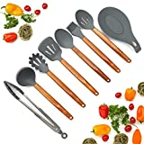 Silicone Cooking Utensils Set, 8 Piece Kitchen Utensil Set with Natural Acacia Wooden Handles, BPA Free Silicone Kitchen Cooking Utensils, Safe Cooking Tools for Non-stick Cookware, Best Kitchen Gift