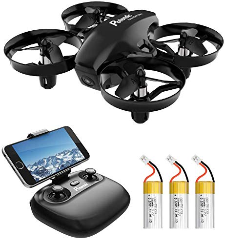 Potensic A20W Mini Drone with Camera, 720P RC Drone for Kids Portable Quadcopter 6 Axis - Real Time FPV, Altitude Hold, Headless Mode, Route Settiing, 3 Batteries