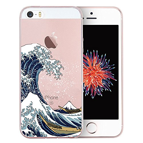 Unov Case for iPhone SE (2016) iPhone 5s iPhone 5 Clear with Design Embossed Pattern TPU Soft Bumper Shock Absorption Slim Protective Back Cover 4 Inch (Great Wave)