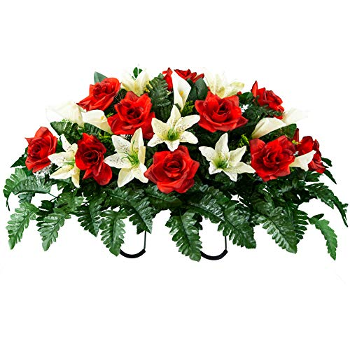 Sympathy Silks Artificial Cemetery Flowers - Realistic - Outdoor Grave Decorations - Non-Bleed Colors, and Easy Fit - Red Rose and Cream Tiger Lily Mix- Saddle - for Headstone