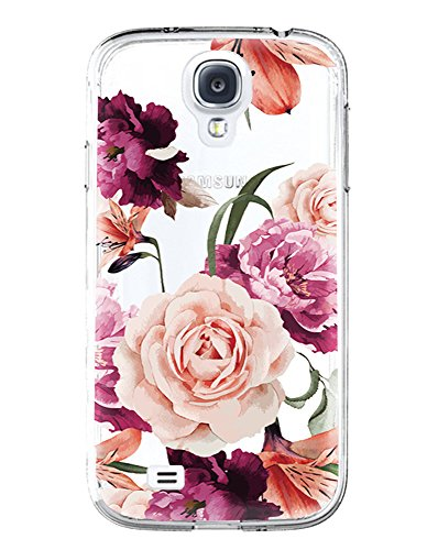 Galaxy S4 Case,Samsung Galaxy S4 Case with Flower,LUOLNH Slim Shockproof Clear Floral Pattern Soft Flexible TPU Back Cover for Samsung Galaxy S4 I9500 I9505 (Purple)