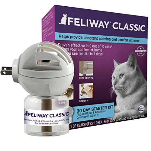 Feliway Classic Cat Calming Diffuser Kit for Cats (30 Day Starter Kit) - Reduce Problem Scratching, Spraying, and Hiding