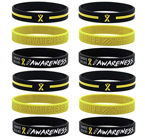 (12-Pack) Yellow Awareness Ribbon Bracelets, Variety Pack - Wholesale Pack of 12 Silicone Rubber Wristbands to Symbolize Hope, Courage, Strength, and Support - Unisex for Men Women Teens