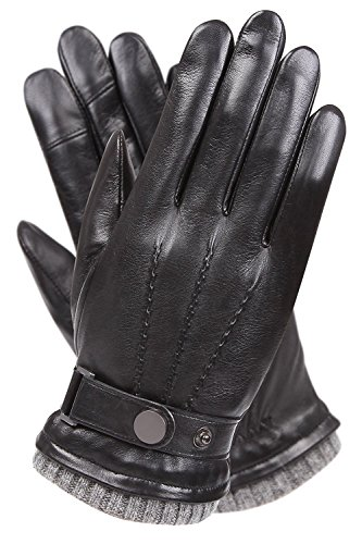 Men's Texting Touchscreen Winter Warm Sheepskin Leather Daily Dress Driving Gloves Wool/Cashmere Blend Cuff (9, Black (Cashmere&Woo Blend Lining))