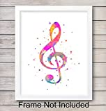 Treble Clef Music Wall Art Print - Watercolor - Perfect Gift For Music Lovers - Great Home Decor For Music Room - Ready to Frame (8X10) Vintage Photo