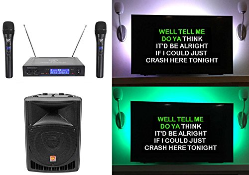 Rockville 8' Powered Pro Karaoke Machine/System w/LED's+(2) Wireless Microphones