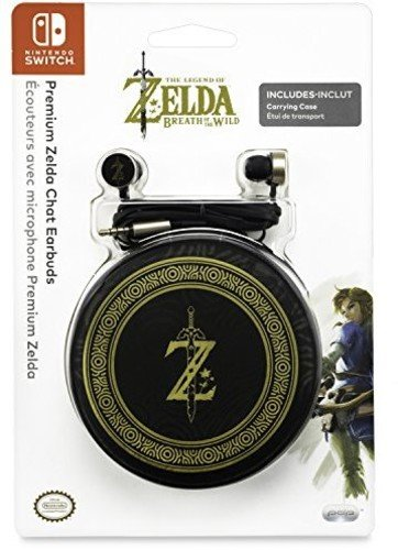 PDP Gaming Zelda Breath Of The Wild Chat Earbuds   In Line Microphone, Carrying Case: Black/Gold - Nintendo Switch, Smart Phones