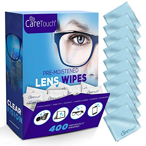 Care Touch Lens Cleaning Wipes with Microfiber Cloths | 400 Lens Cleaning Wipes and 10 Microfiber Cloths | Excellent for Glasses, Laptops, Computer Screens, and Phones
