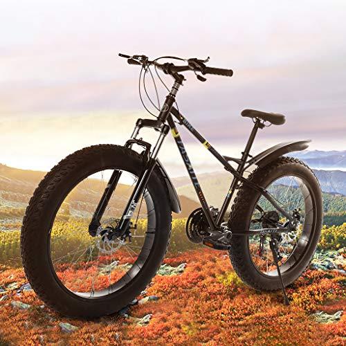 Sentmoon 26-inch Adult Bike Fat Tire Mountain Bike 21-Speed Bicycle Mountain Bicycle Road Bike High-Tensile Steel Frame for Men Women