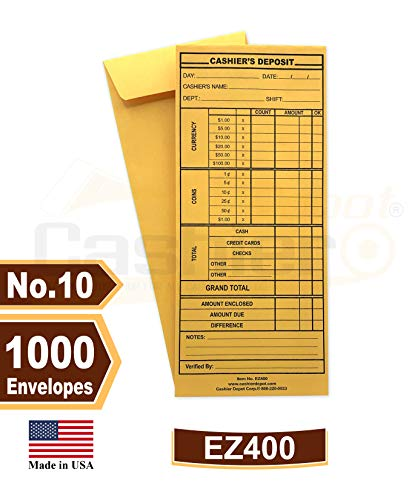 Cashier Depot EZ400 Cashier's Deposit Envelope, 10 Brown Kraft Envelope, 4 1/8' x 9 1/2', Heavy 24 LB, 1000 Envelopes