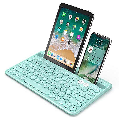 Bluetooth Keyboard, Jelly Comb Multi-Device Universal Bluetooth Rechargeable Keyboard with Integrated Stand for iPad Tablet Smartphone PC MacBook Android iOS Windows Devices-B046 (Mint Green)