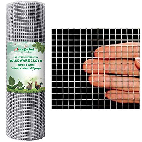 Amagabeli 48x50 Hardware Cloth 1/4 inch Square Galvanized Chicken Wire Welded Fence Mesh Roll Raised Garden Bed Plant Supports Poultry Netting Cage Wire Snake Fence