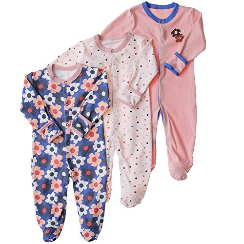 Baby Footed Pajamas with Mittens - 3 Pcs Infant Girls Boys Footie Onesies Sleeper Newborn Cotton Sleepwear Outfits(Flower, 0-3 Months)