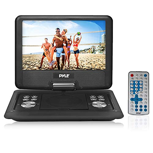 Pyle Portable DVD CD Player - 14 Inch High Resolution TFT Swivel Angle Foldable Display Screen Built-in Rechargeable Battery USB/SD Card Readers 32GB Memory & Multimedia Support w/ Remote Control - PDH14, Black