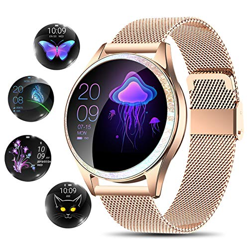YOCUBY Smart Watch for Women,Bluetooth Fitness Tracker Compatible with iOS,Android Phone, Female Sport Smartwatch Calorie Counter Pedometer Lady Activity Tracker with Sleep Monitor, Heart Rate