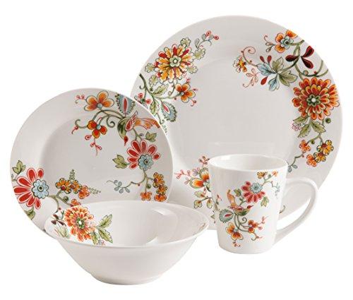Gibson Home Doraville Round Dinnerware set, Service for 4 (16) Piece, White/Specks