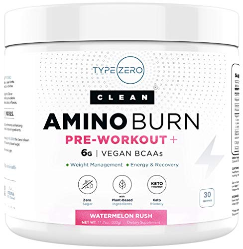 Amino Burn – Vegan BCAA + Pre Workout Powder (6g | Watermelon) Sugar-Free BCAAs Amino Acids & Natural Keto Preworkout for Women Fat Burn/Weight Loss Management - Post Workout Recovery + Energy Drink