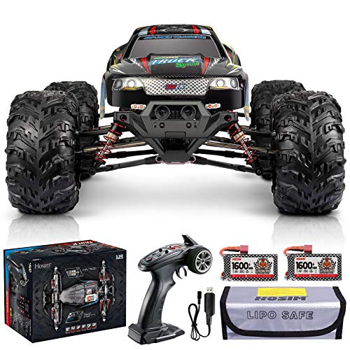 Hosim Large Size 1:10 Scale High Speed 30MPH 4WD 2.4Ghz Remote Control Truck Upgraded 9125 Waterproof RC Offroad Car Boys Electric Monster Truck for Kids and Adults  2 Batteries   6 Oil Filled Shocks 