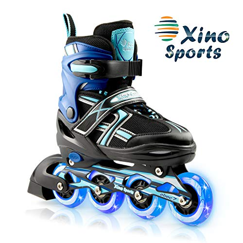XinoSports Kids Inline Skates for Girls & Boys - Adjustable Roller Blades with LED Illuminating Light Up Wheels - Youth Skates Can Be Used Indoors & Outdoors - Sizes for Ages 5-20 - Aqua Large - 5-8