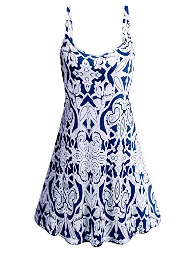 Tanst Sky Womens Sleeveless Adjustable Strappy Sundress Summer Beach Swing Dress (XX-Large, White)
