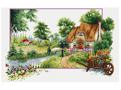 TINMI ATRS DIY Stamped Cross Stitch Landscape Kits Thread Needlework Embroidery Printed Pattern 11CT Home Decoration Four Seasons (Summer)