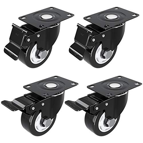 3 inch Caster Wheel with Brake Locking and NO Noise Rubber Wheels, Heavy Duty Swivel Plate Caster for DIY Cart Dolly, Support 1000 lbs, 4 Pack