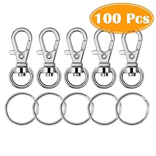 Paxcoo 100 Pcs Metal Swivel Lanyard Snap Hook with Key Rings (Small Size)