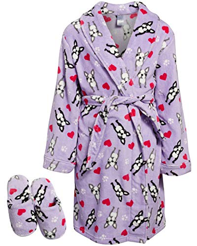 Sleep & Co Big Girls Fleece Robe with Slippers Set (Lilac Bulldog, 7-8)'