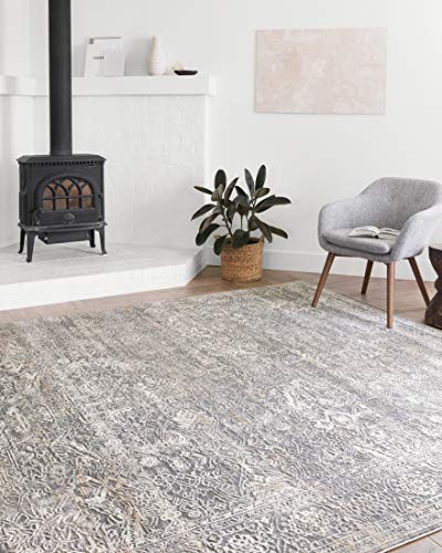 Loloi II Lucia Collection Distressed Persian Area Rug, 7'-9' x 10'-6', STEEL/IVORY