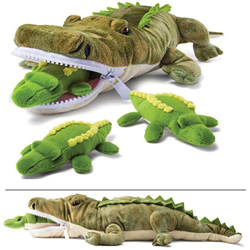 Prextex Plushlings Plush Crocodile with 3 Little Plush Baby Crocodiles Stuffed Alligator Plush Animals Playset