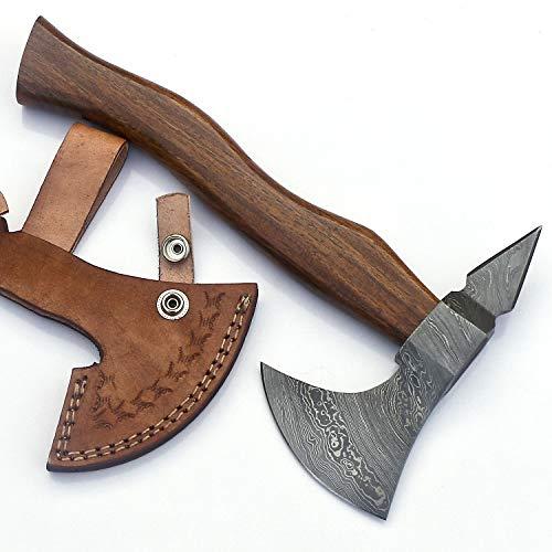 JNR Traders Handmade Damascus Steel Axe Hatchet Tomahawk Knife 10.00 Inches Axe Rose Wood Handle vk2217